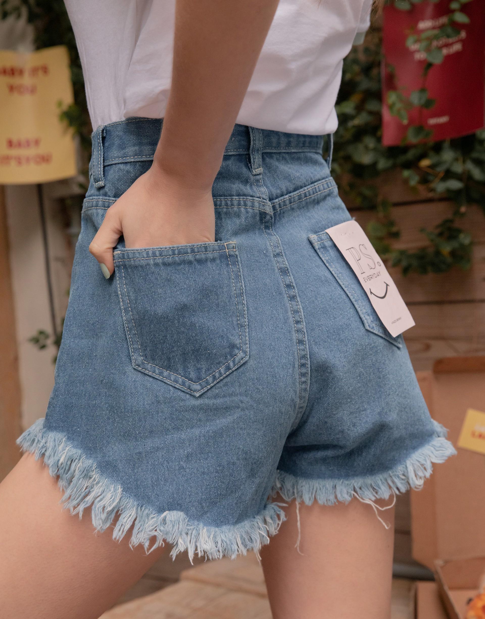 PAZZO+#PS系列 歐美風下抽鬚完美比例牛仔短褲2.0(TIFFANY聯名款)